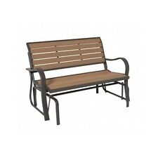 Outdoor Glider Bench Faux Wood Garden Seat Deck Loveseat Rocker Porch Glider