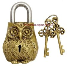 Unique Brass Vintage Collectible Owl Figurine Hand Crafted 2 Keys Padlock