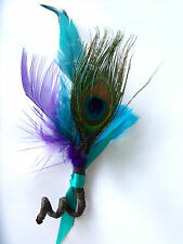 Peacock Feather Wedding Boutonniere Bout PURPLE Green Brown TEAL TURQUOISE