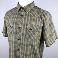 The North Face Plaid Short Sleeve Button Front Shirt Men's XL Khaki Tan Gray
