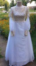 60's Vintage Mori-Lee Chiffon & Crochet Lace Edwardian Wedding Dress S 10 Vgvc
