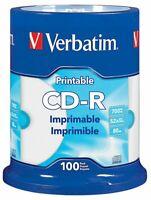Verbatim 98493 CD-R 80m/700MB 52x White Hub Printable Disc Spindle 100 pack
