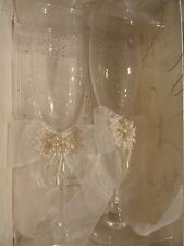 Toasting glasses  - Lillian Rose -Pearl/sequine and lace accent