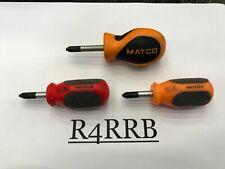 Matco Tools Rare 3 Piece Assorted Phillips 2 Stubby Screwdriver Lot Set