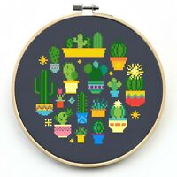 Cactus Cross Stitch Kit Beginner - Counted Cross Stitch Kits - Modern Sampler