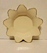 Vintage Lenox Meridian Collection Flower Candy Dish Ivory & Gold Trim Made Usa