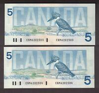 2 CONSECUTIVE CANADA 1986 $5 CROW BOUEY BANKNOTES SERIAL ENM6202503 504 GEM UNC