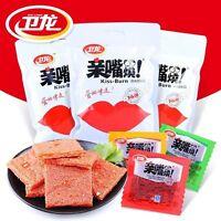 Weilong Chinese Specialty Snack Food Latiao Burn Kiss辣条亲嘴片零食小吃 卫龙亲嘴烧300g/袋 Ske15