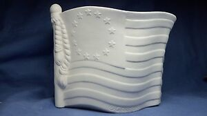 Flag Planter Centerpiece Patriotic 4th of July Ceramic Bisque  Ready to Paint