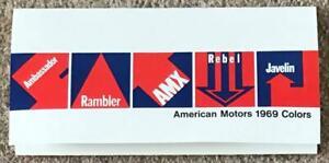 AMERICAN MOTORS USA Car Exterior Colour Paint Chart 1969 Ambassador Rambler AMX