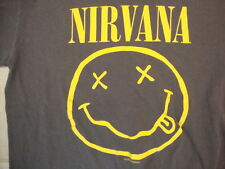 Nirvana Grunge Alternative Rock Band Smiley Face Tour Gray T Shirt Size S