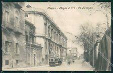 Napoli Ercolano Resina Tram PIEGA cartolina XB3857