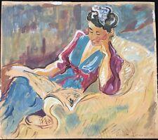 """LÉPINE JOSEPH """"PORTRAIT DE JEUNE FEMME LISANT""""  VENDE LA BOREEL DATÉ 1924"""