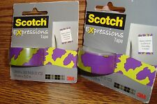 #2 Rolls Scotch Expressions MatteTape Decorating,Crafts Green-Purple Camouflage