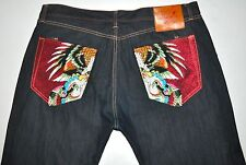 Ed Hardy Dark Blue Indigo Jeans Embroidered Eagle & Snake Big & Tall 44 X 33 1/4