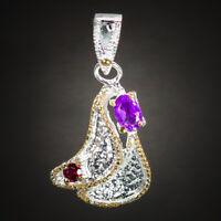 Handmade Jewelry Pendant Natural Amethyst 925 Sterling Silver Pendant / RVSP04