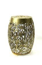 Vintage Brass Chinese Garden Stool Drum Table Stand Ornate Pierced Mid Century