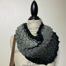 Womans Mossimo Gray Black Soft Chunky Knit Winter Scarf Snood