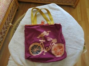 FOSSIL COTTON Shopping Tote Bag -TWO HANDLE-SNAP CLOSE-ROLL UP--BIRD/BIKE --EUC