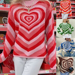 Womens Long Sleeve Turtleneck Heart Striped Knitted Sweater Pullover Tops Jumper