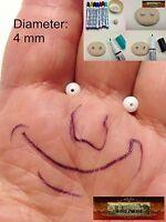 M01051 MOREZMORE 20 White 4mm Glass Bead Balls Eyeballs Eyes Doll Puppet A60
