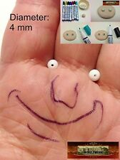 M01051 MOREZMORE 20 White 4mm Glass Bead Balls Eyeballs Eyes Doll Puppet