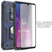 For Motorola Moto One Zoom Rugged Armor Hybrid Case [Magnetic Ring] + Screen
