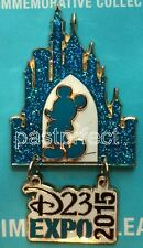 Disney Pin D23 EXPO 2015 LOGO MICKEY Sleeping Beauty CASTLE Blue Glitter Dangle