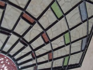 Newly crafted TRADITIONAL STAINED GLASS WINDOW PANEL Sunburst 512mm by 387mm