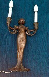 Beautiful Art Nouveau Figural Lamp by Lucien Alliot.
