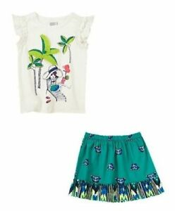 crazy 8 by gymboree tropical palm tree top tee butterfly skirt 5 5t nwt