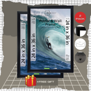 Mainstays 24x36 Frame Poster and Picture Frame, Black, Set of 2,HIGH QUALITY