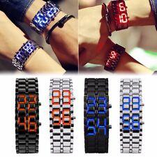 Men Women Lava Iron Samurai Metal Faceless Bracelet LED Digital Wristwatch