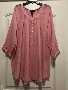 Lane Bryant Womens Plus 3/4 sleeve Striped Top Tunic Blouse size 26/28(3X)