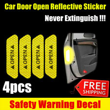 4x Super Yellow Car Door Open Sticker Reflective Driving Safety Warning Decal