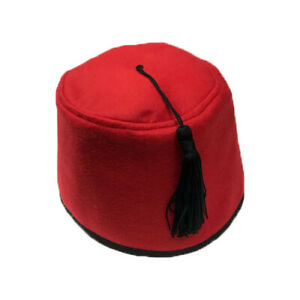 Red Fez Hat Turkish Fancy Dress Tommy Cooper Soft Fabric Costume Accessory