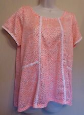Marks & Spencer Collection UK18 EU46 US14 pink/white light knit short-sleeve top