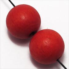 Lot de 20 Perles rondes en Bois 18mm Rouge