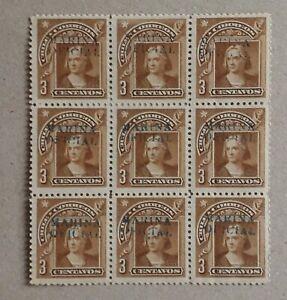 Chile 1906 Official  Marina Oficial – Columbus – 3 cts brown – Block of 9 copies