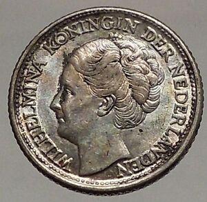 1944 CURACAO Netherlands Kingdom Queen WILHELMINA 1/4 Gulden Silver Coin i57181