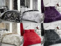 Good Night, Marble Quilt Cover Bedding Set with Pillow Case In All Sizes
