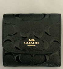 COACH F88907 Signature Debossed Patent Leather Small Wallet Black NWT MSRP $150