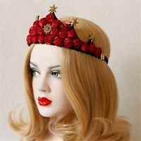 Lady Rose Stars Headband Floral Queen's Crown Gothic Elastic Hair Accessories