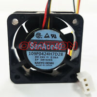FOR Sanyo 109P0424H7D28 Fan 24V 0.08A 40*40*15mm 3pin