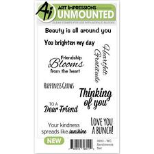 New ART IMPRESSIONS RUBBER STAMP Cling Watercolor SENTIMENTS SET FREE US SHIP