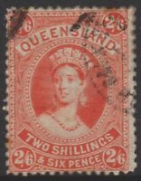 QLD Stamps - Chalon - 1882 - 2 shillings & six pence - vermillion- used - SG158