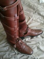 Manolo blahnik chestnut brown/tan leather riding boots size Euro 40 UK 6.5 / 7