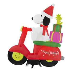 6 ft Pre-Lit LED Airblown Peanuts Snoopy Woodstock Moped Christmas Inflatable