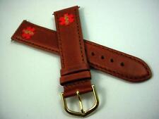 Flex-On Medical Alert Brown Leather 20mm Vintage Watch Band Mens Gold Tone Buckl