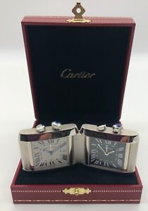 New Genuine Cartier Tank Francaise Dual Time Zone Travel Clock Alarm Date BoxPap